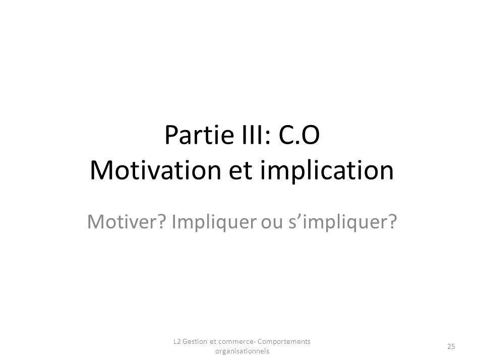 Partie III: C.O Motivation et implication