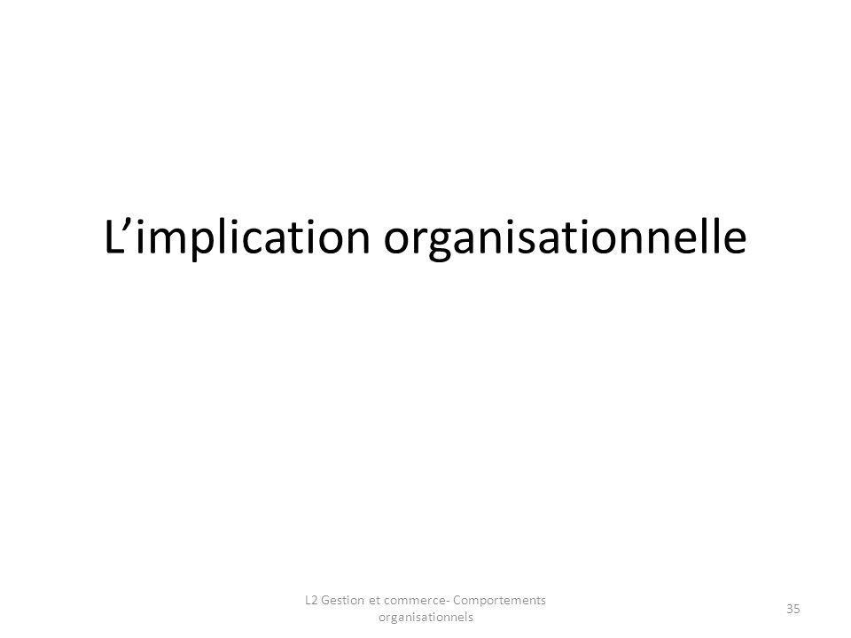 L'implication organisationnelle