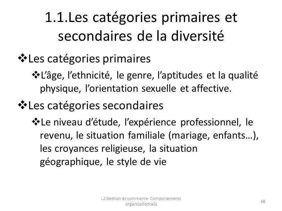 1.1.Les catégories primaires et secondaires de la diversité