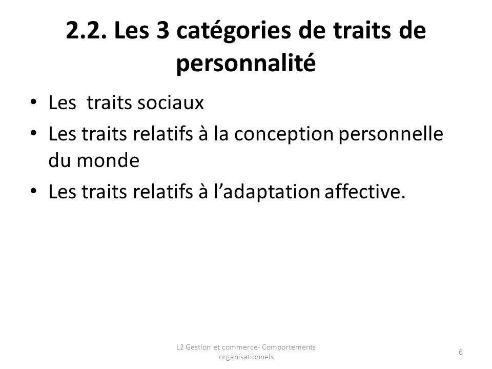 2.2. Les 3 catégories de traits de personnalité