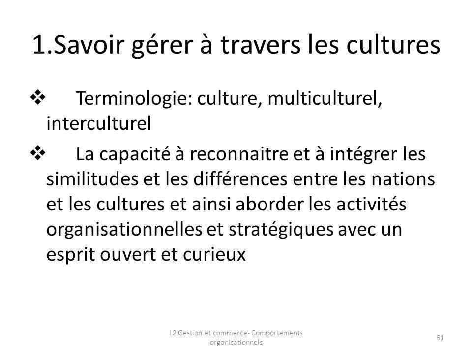1.Savoir gérer à travers les cultures