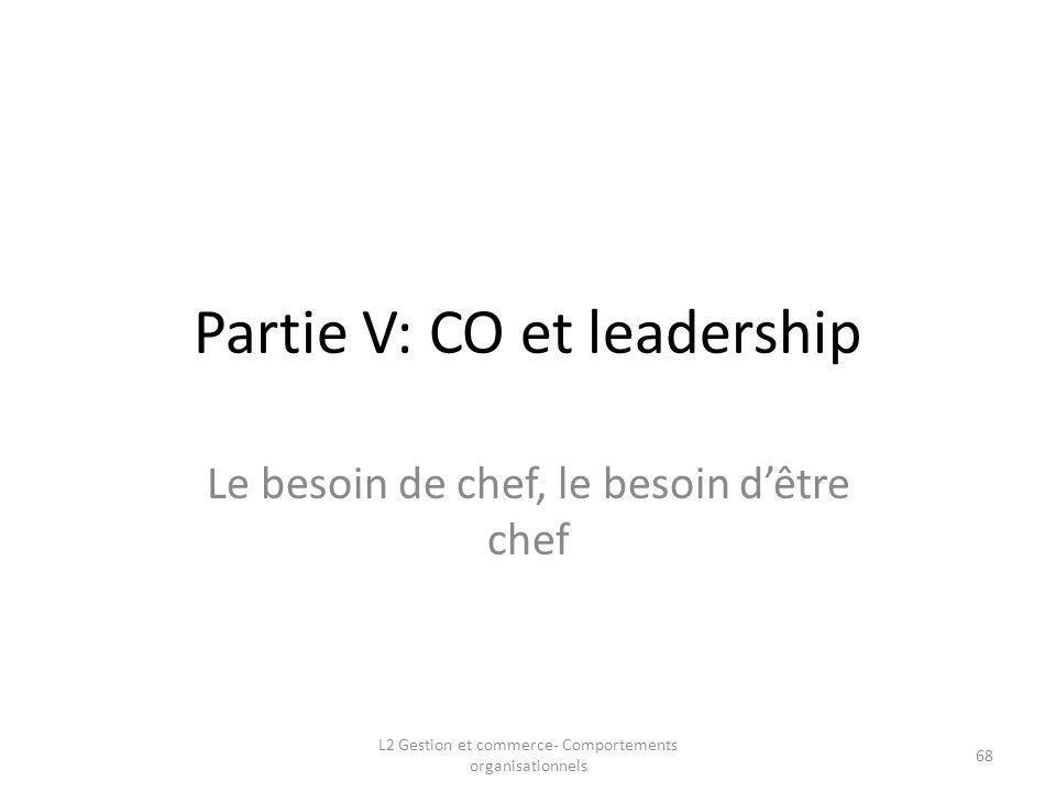 Partie V: CO et leadership