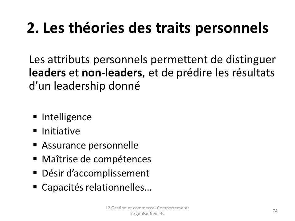 2. Les théories des traits personnels