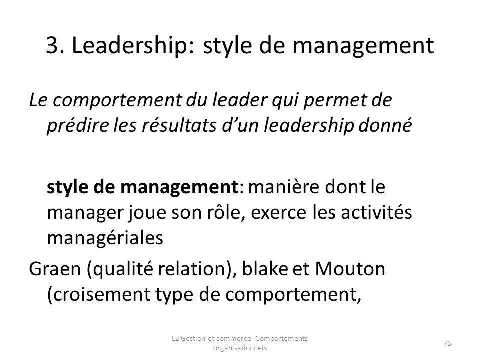 3. Leadership: style de management