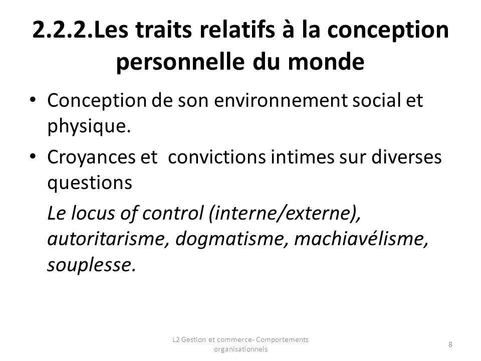 2.2.2.Les traits relatifs à la conception personnelle du monde