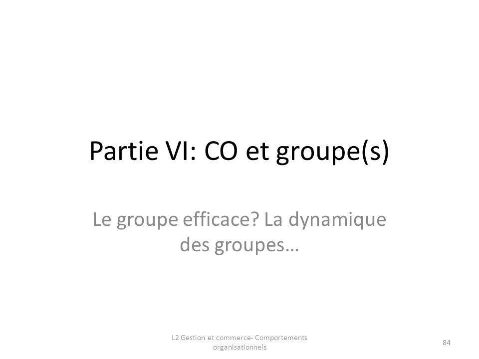 Partie VI: CO et groupe(s)