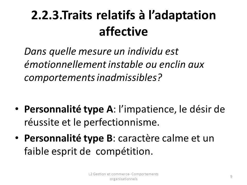 2.2.3.Traits relatifs à l'adaptation affective