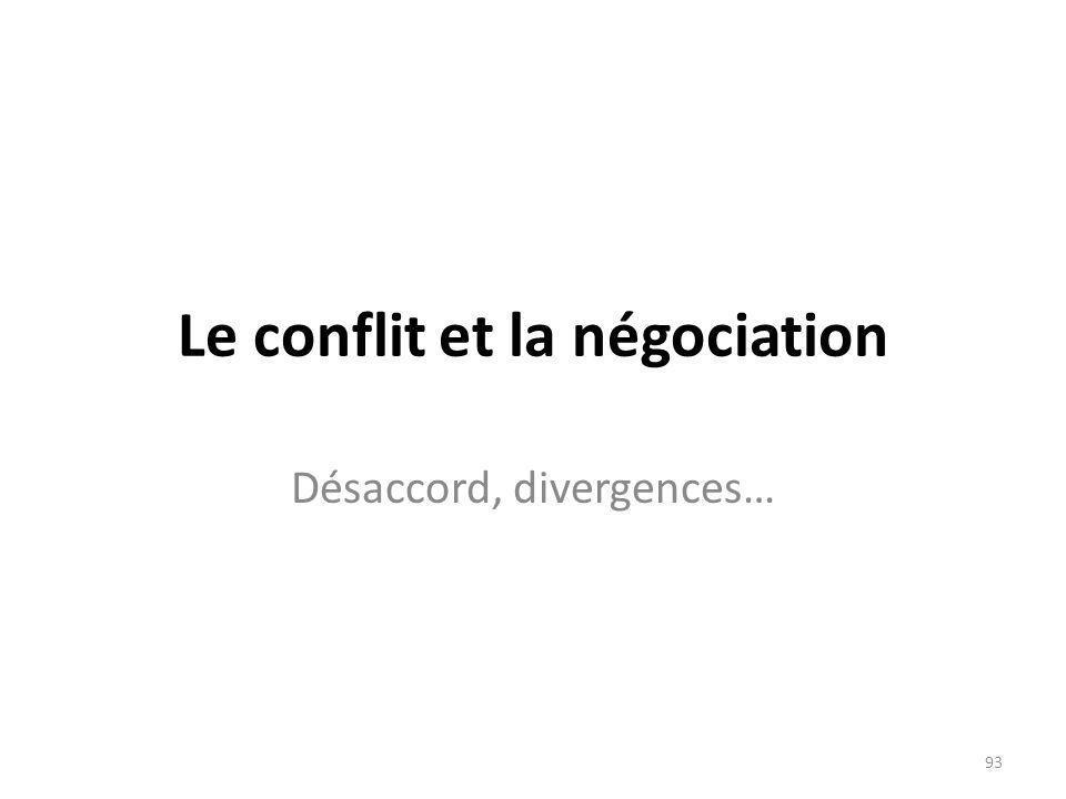 Le conflit et la négociation