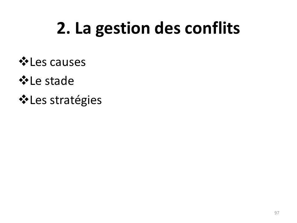 2. La gestion des conflits
