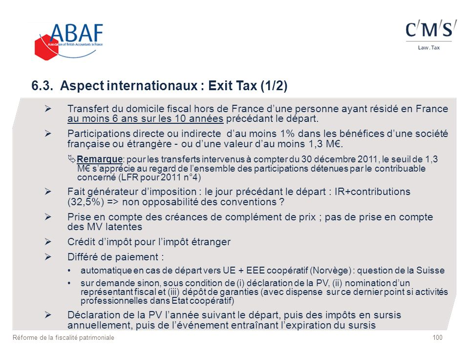 6.3. Aspect internationaux : Exit Tax (1/2)