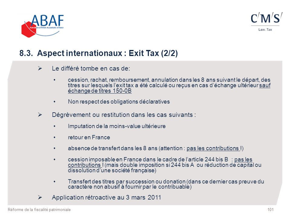 8.3. Aspect internationaux : Exit Tax (2/2)