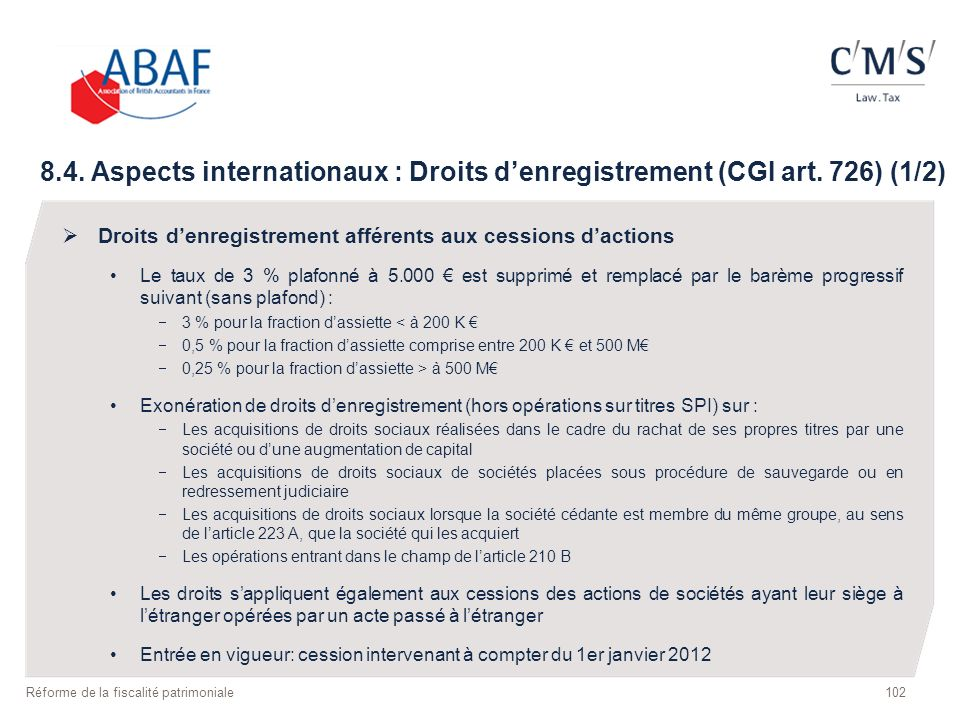 8. 4. Aspects internationaux : Droits d'enregistrement (CGI art