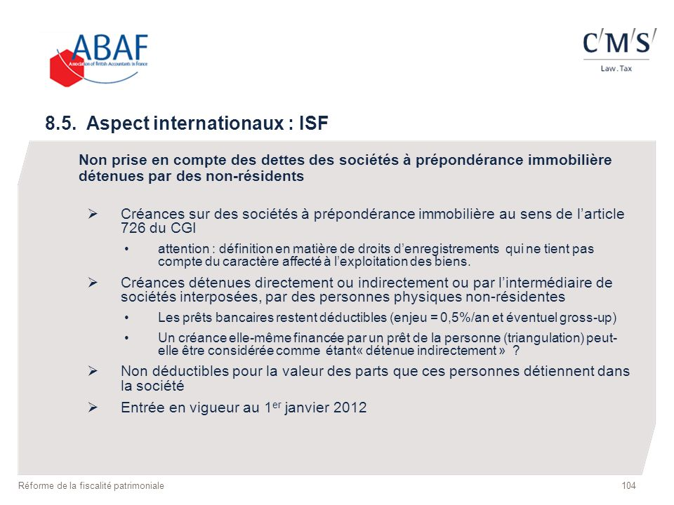 8.5. Aspect internationaux : ISF