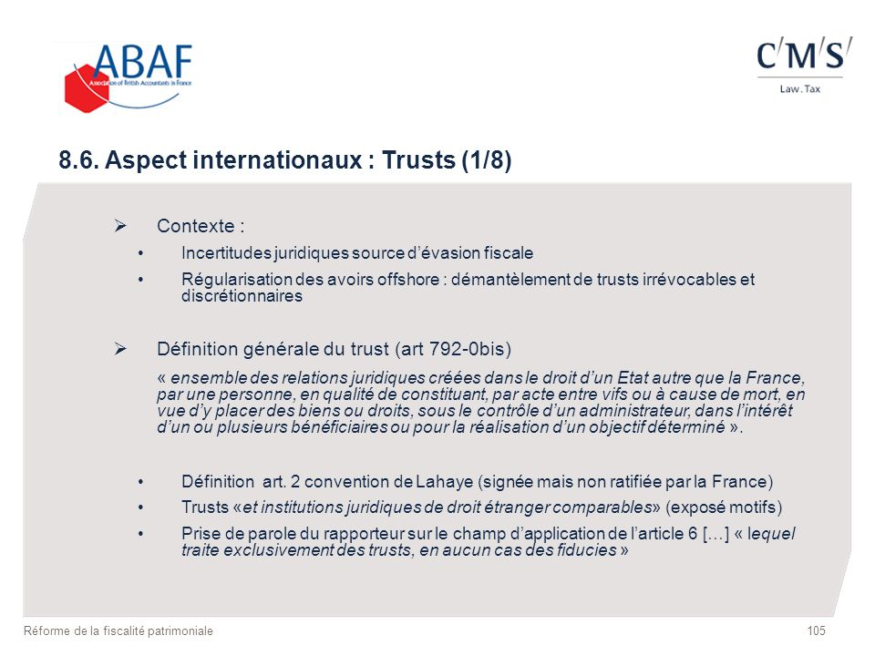 8.6. Aspect internationaux : Trusts (1/8)