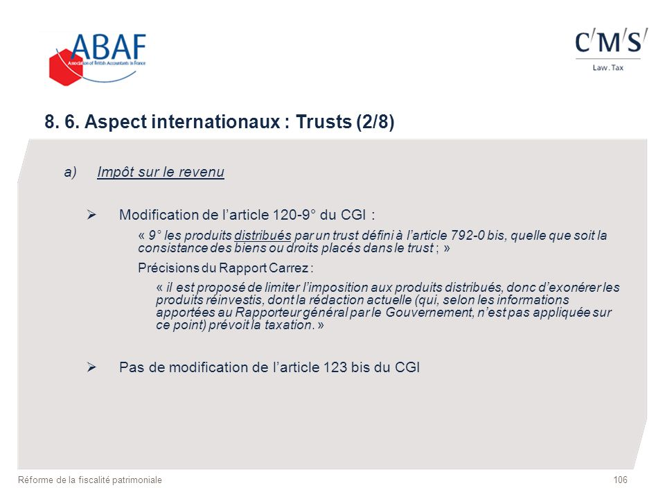 8. 6. Aspect internationaux : Trusts (2/8)