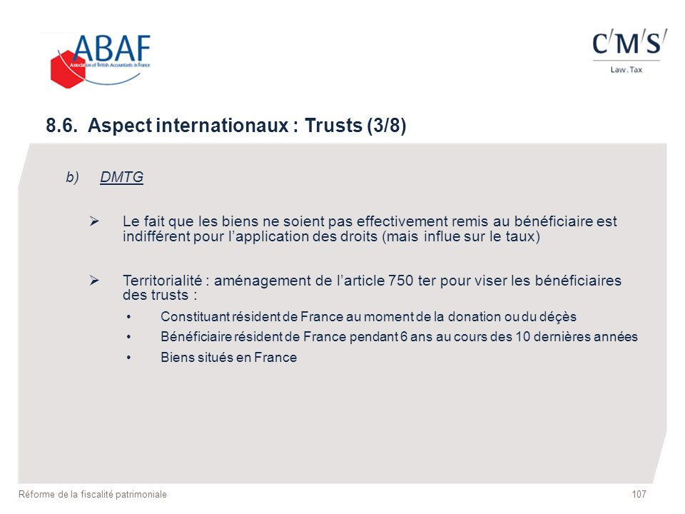 8.6. Aspect internationaux : Trusts (3/8)