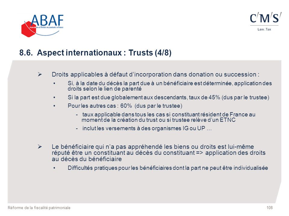8.6. Aspect internationaux : Trusts (4/8)