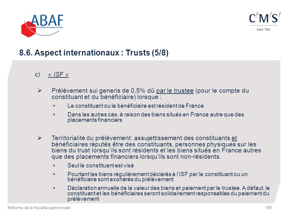 8.6. Aspect internationaux : Trusts (5/8)