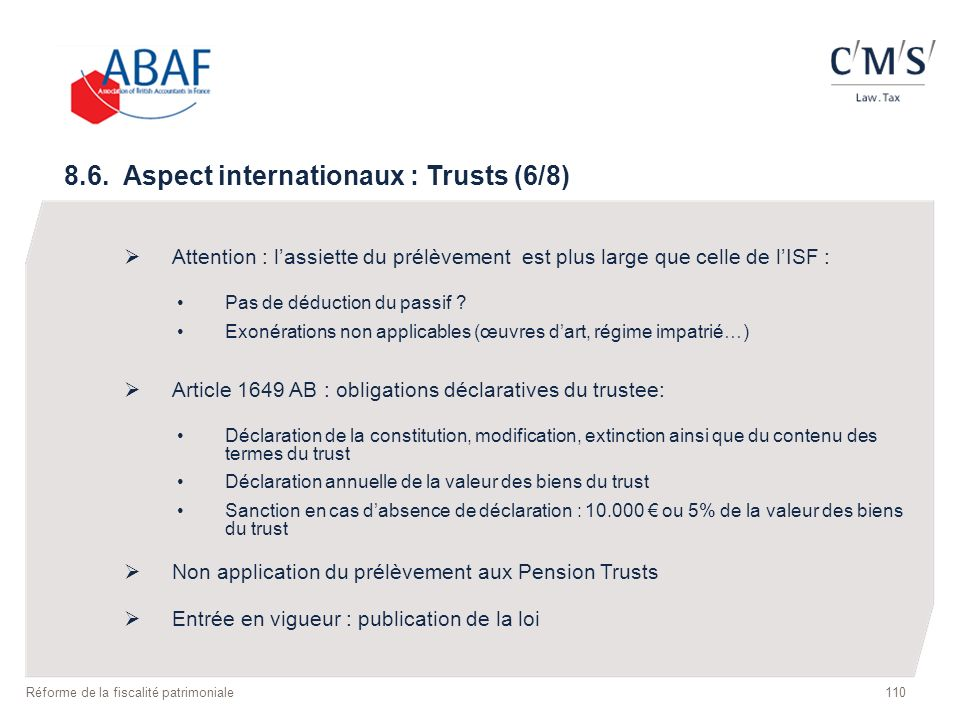 8.6. Aspect internationaux : Trusts (6/8)