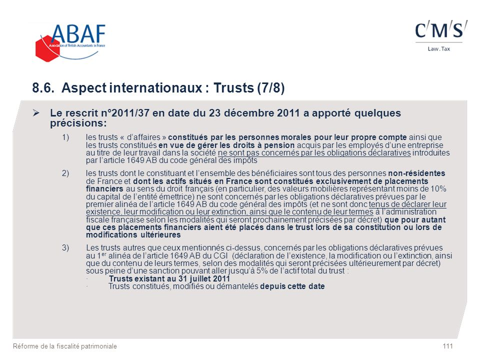 8.6. Aspect internationaux : Trusts (7/8)