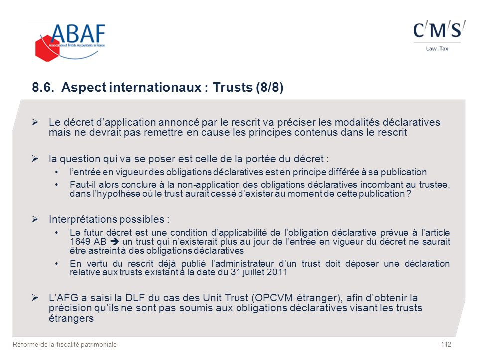 8.6. Aspect internationaux : Trusts (8/8)