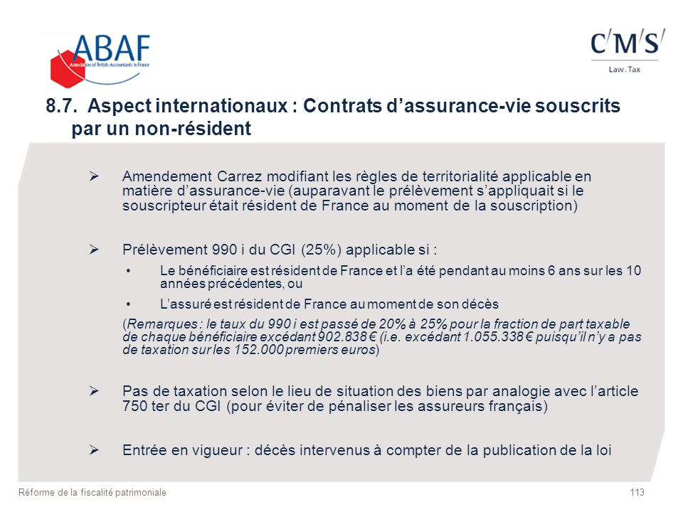 8.7. Aspect internationaux : Contrats d'assurance-vie souscrits par un non-résident