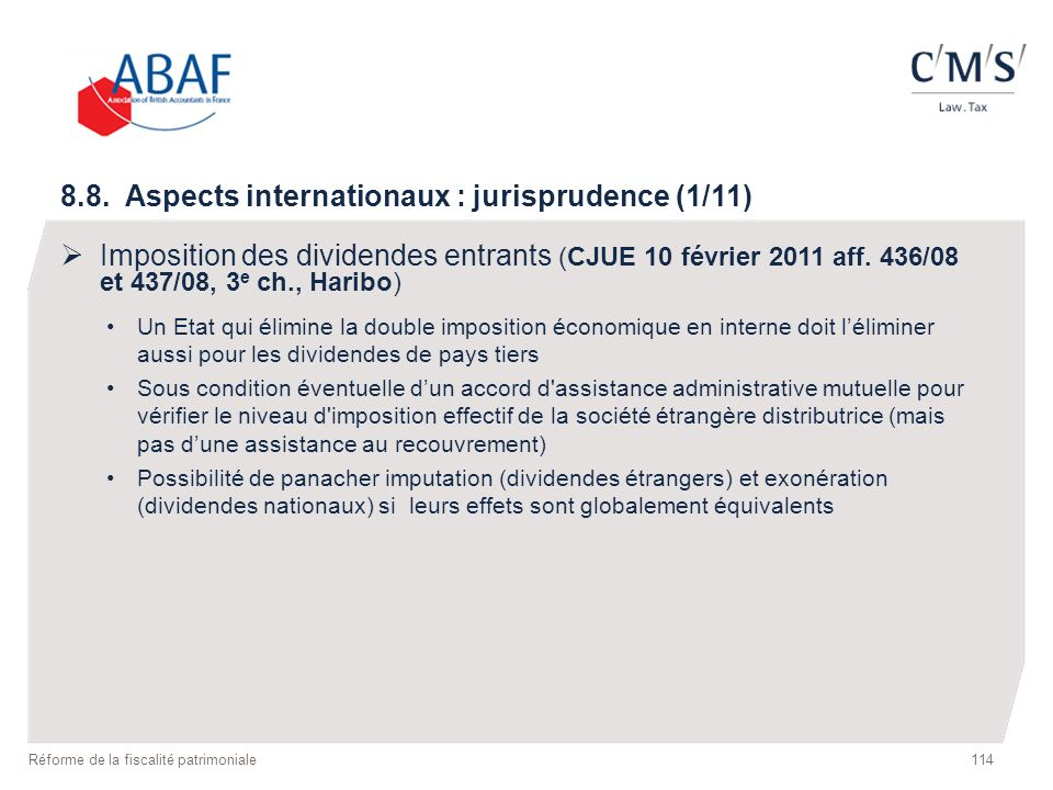 8.8. Aspects internationaux : jurisprudence (1/11)