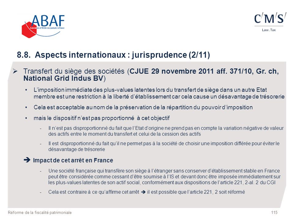 8.8. Aspects internationaux : jurisprudence (2/11)