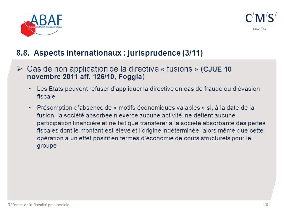 8.8. Aspects internationaux : jurisprudence (3/11)