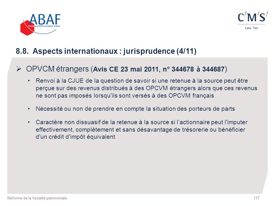 8.8. Aspects internationaux : jurisprudence (4/11)