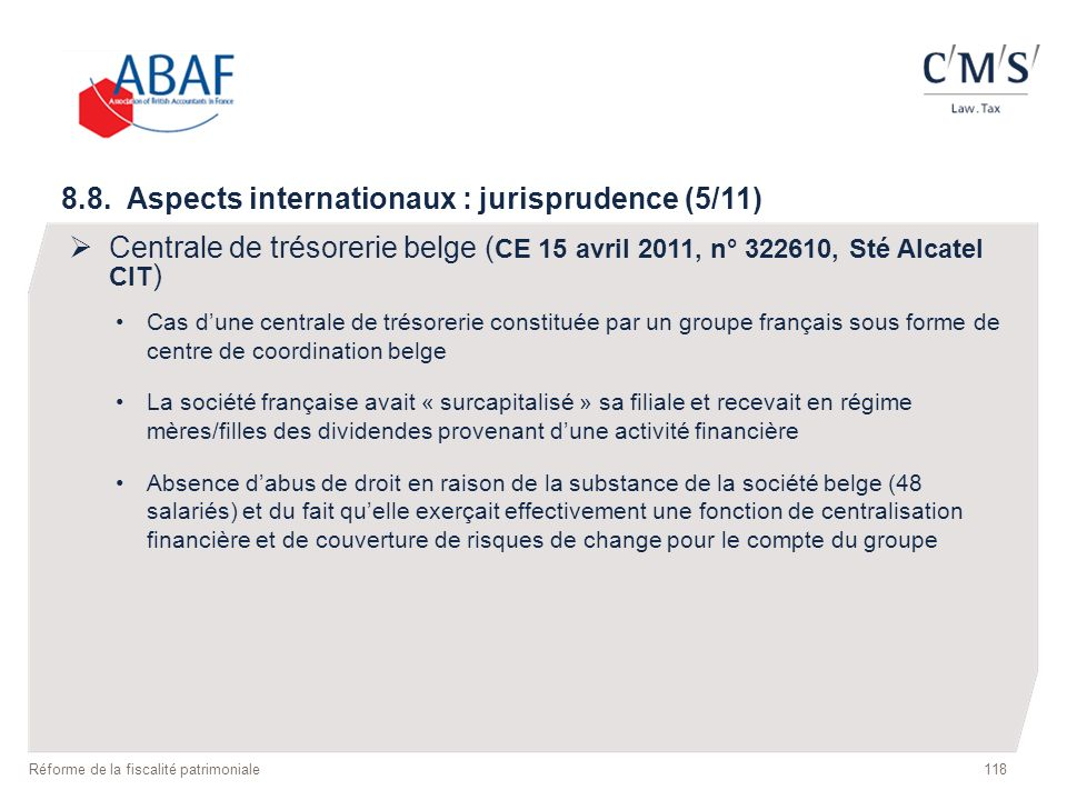 8.8. Aspects internationaux : jurisprudence (5/11)