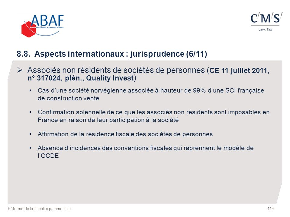 8.8. Aspects internationaux : jurisprudence (6/11)
