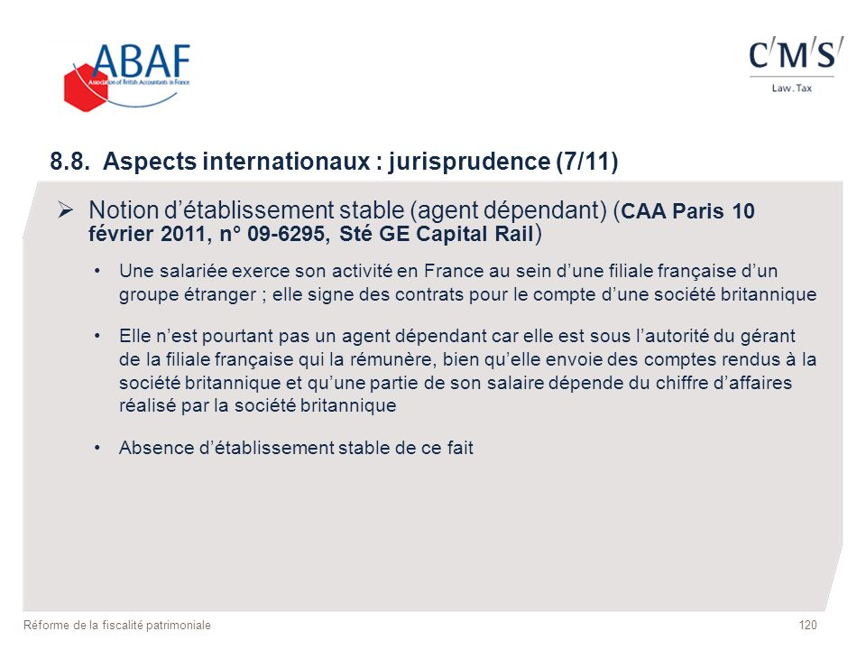 8.8. Aspects internationaux : jurisprudence (7/11)