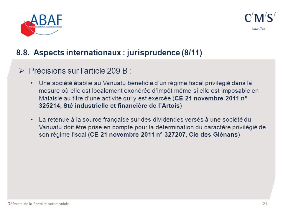 8.8. Aspects internationaux : jurisprudence (8/11)