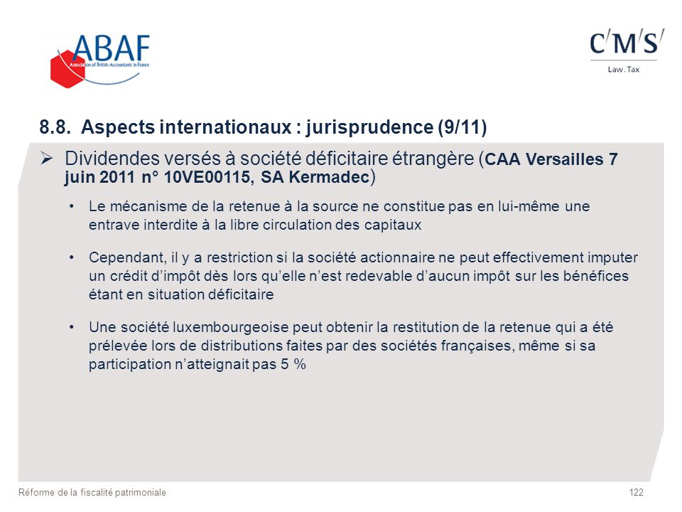 8.8. Aspects internationaux : jurisprudence (9/11)