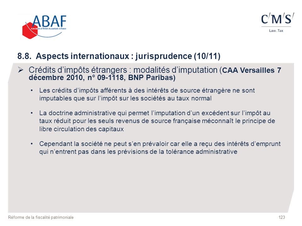 8.8. Aspects internationaux : jurisprudence (10/11)