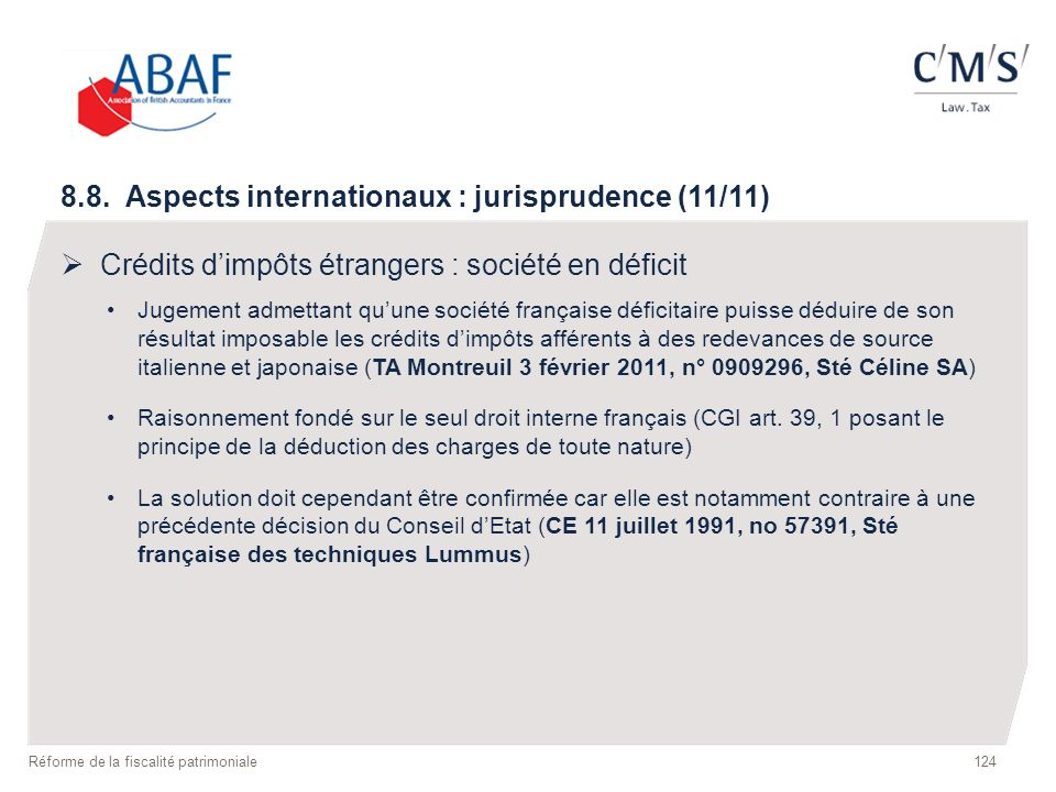 8.8. Aspects internationaux : jurisprudence (11/11)