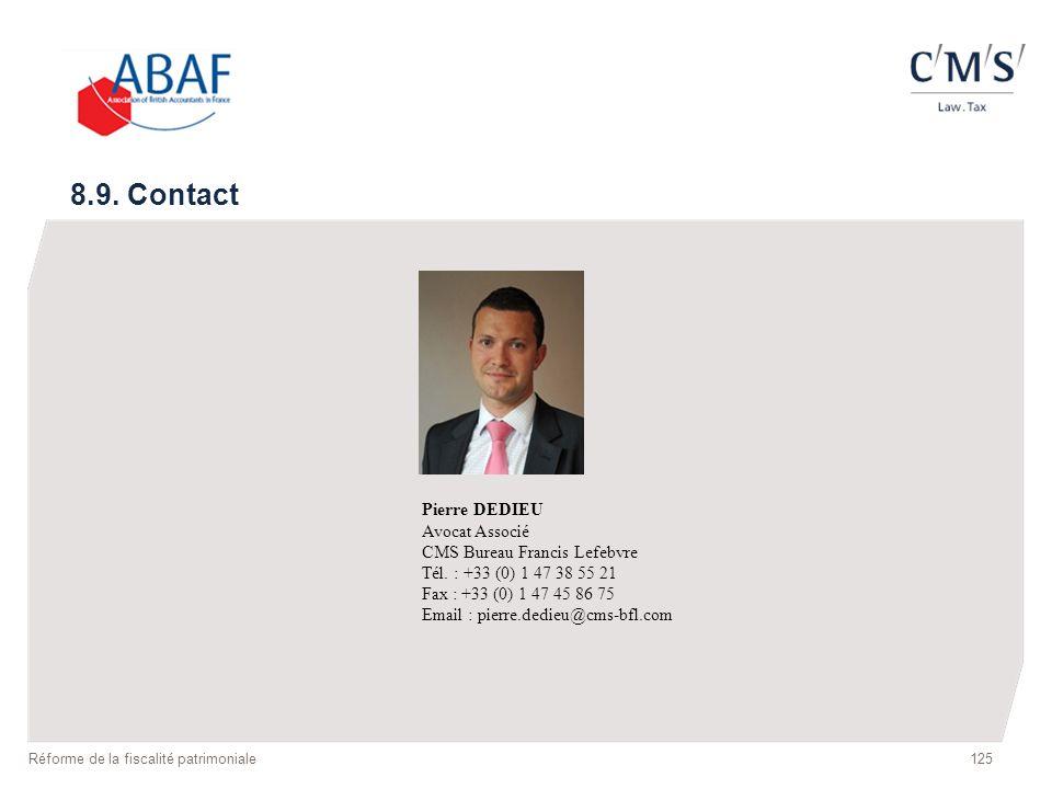 8.9. Contact Pierre DEDIEU Avocat Associé CMS Bureau Francis Lefebvre