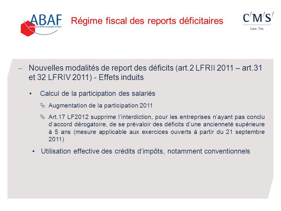 Régime fiscal des reports déficitaires