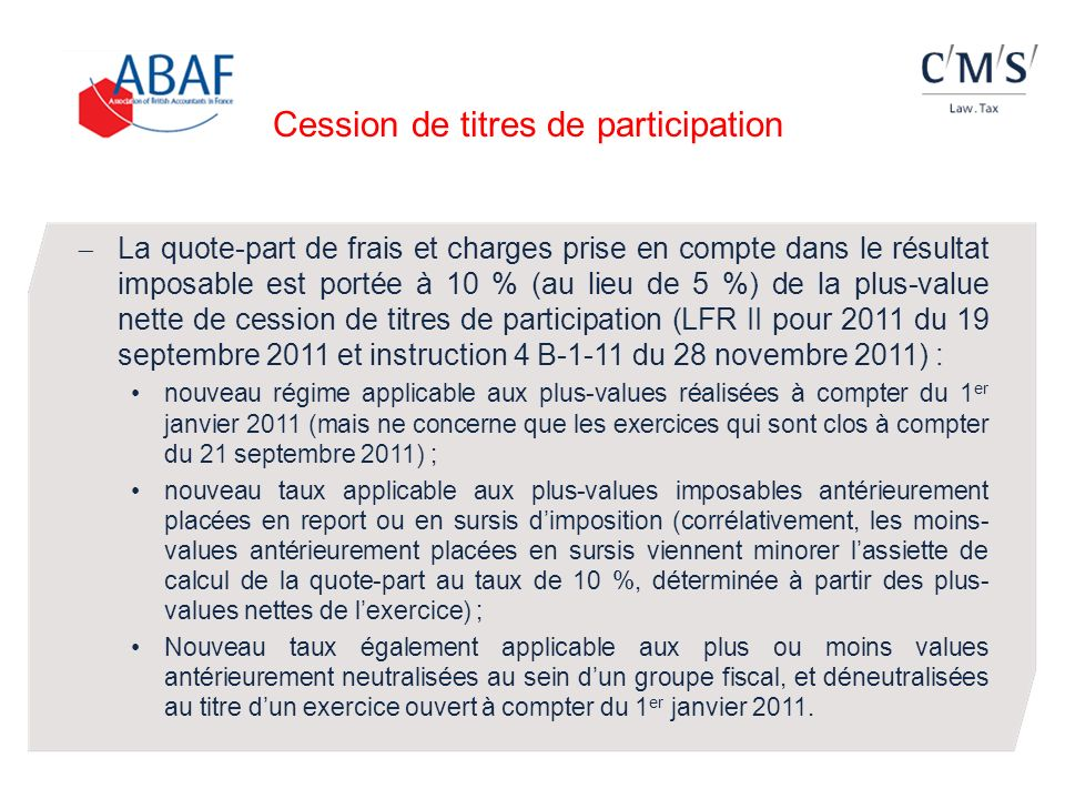 Cession de titres de participation