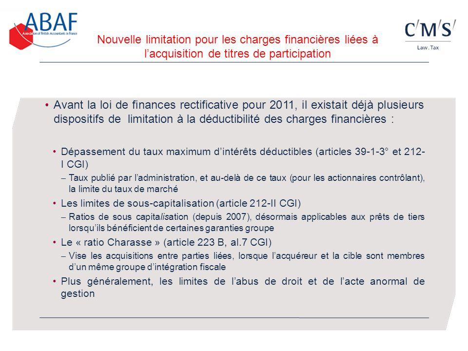 Nouvelle limitation pour les charges financières liées à l'acquisition de titres de participation