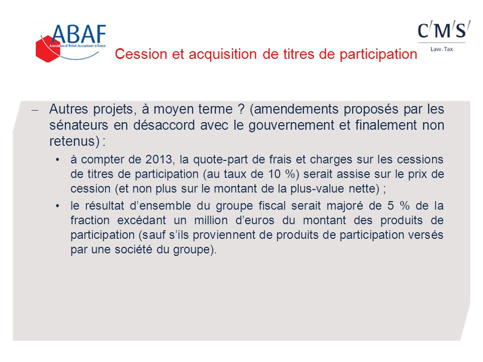 Cession et acquisition de titres de participation