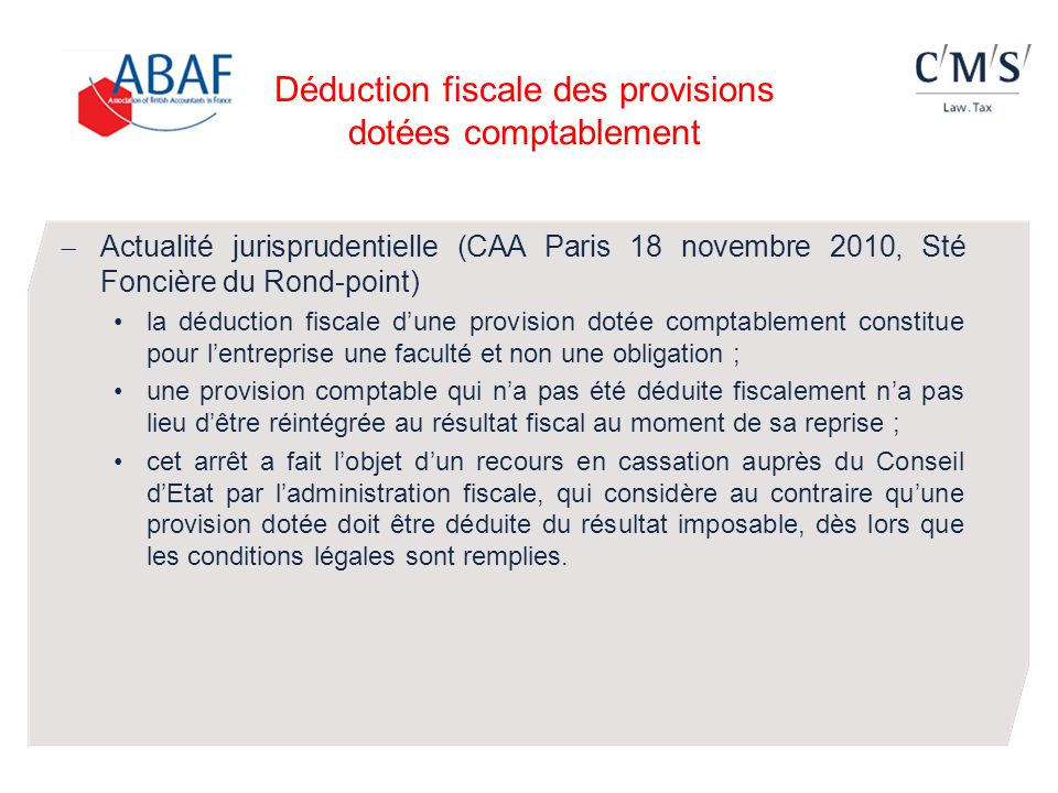 Déduction fiscale des provisions dotées comptablement