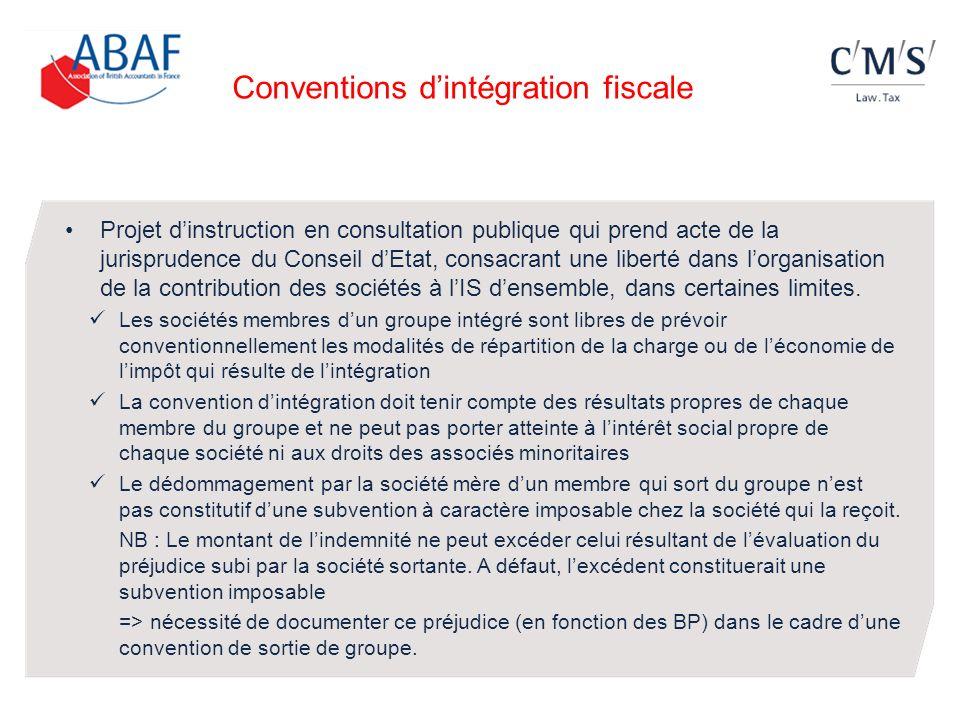 Conventions d'intégration fiscale