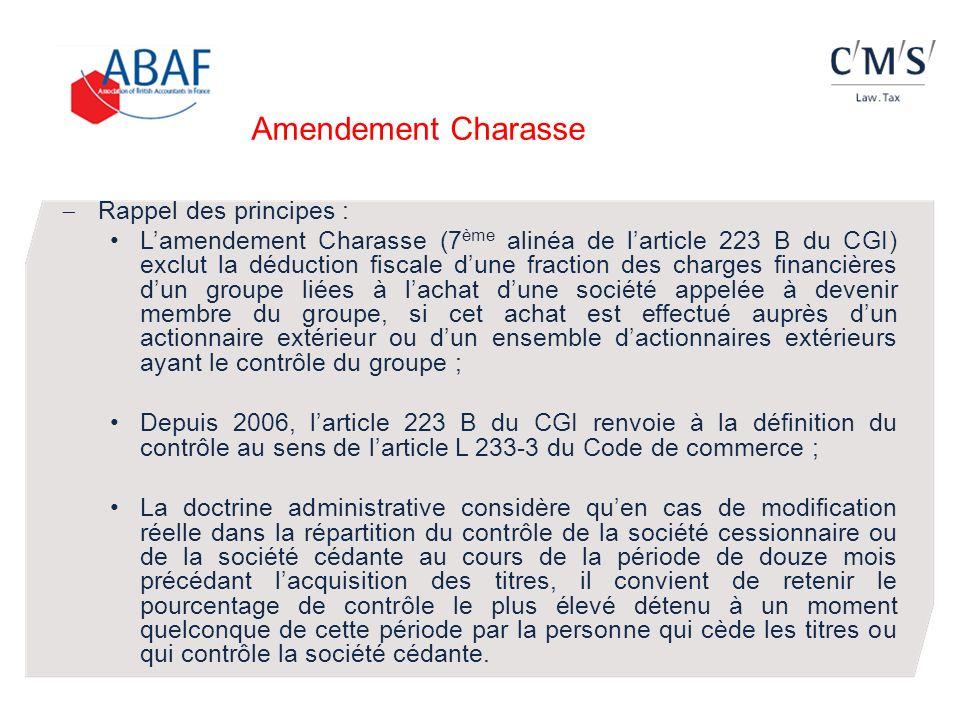 Amendement Charasse Rappel des principes :
