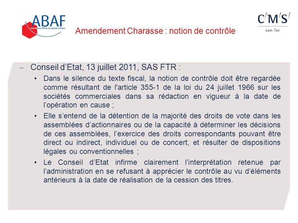 Amendement Charasse : notion de contrôle