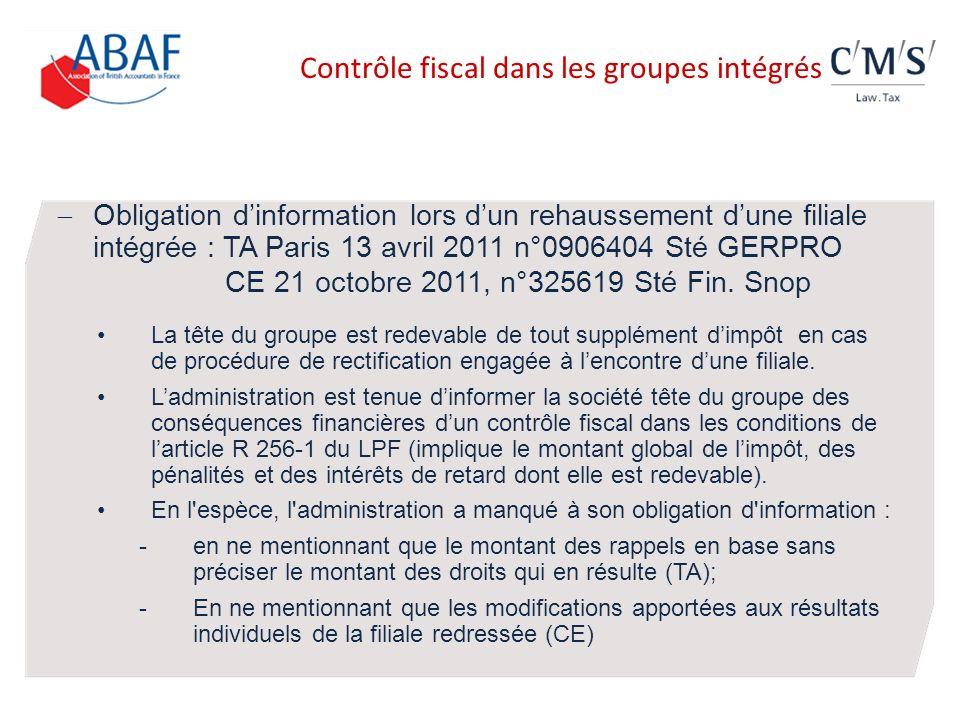 Contrôle fiscal dans les groupes intégrés
