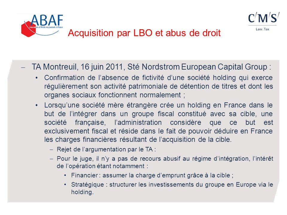Acquisition par LBO et abus de droit