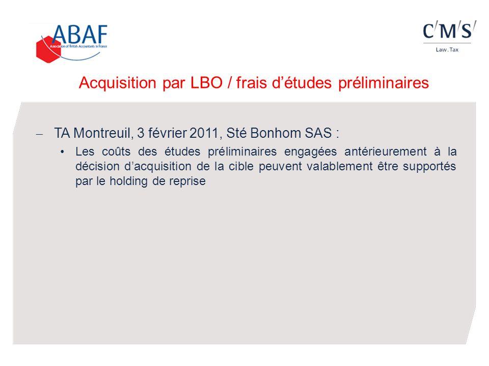 Acquisition par LBO / frais d'études préliminaires