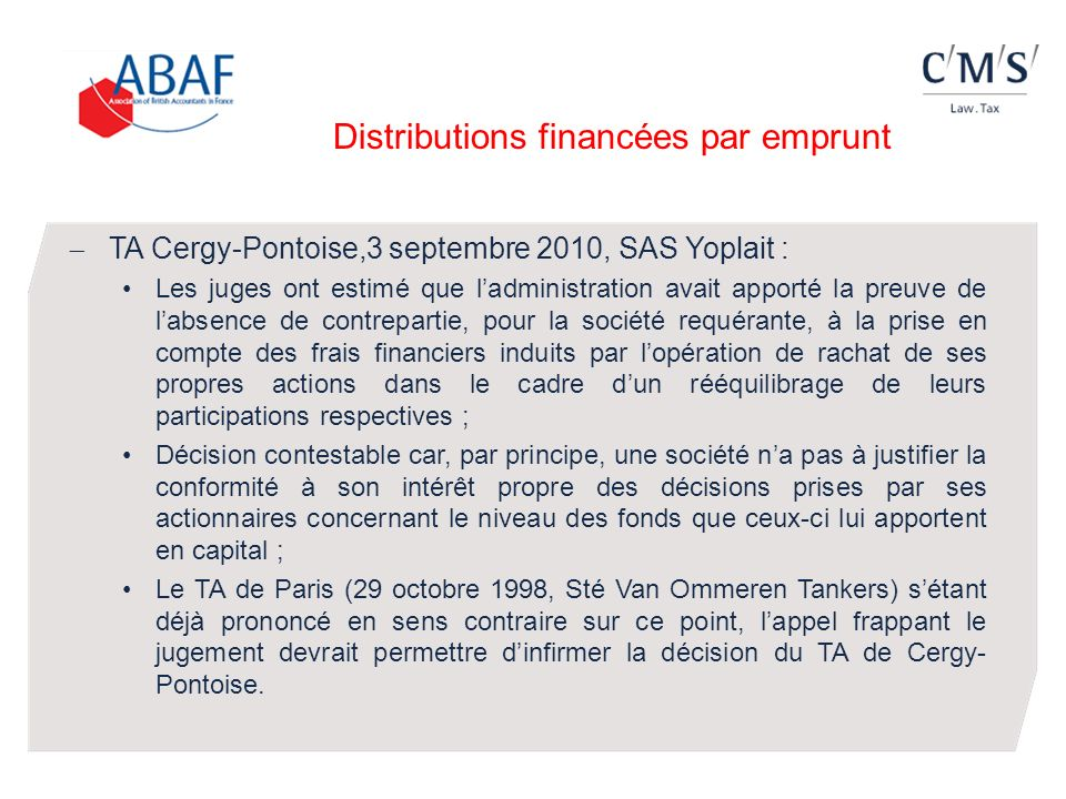 Distributions financées par emprunt